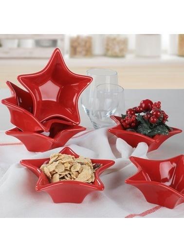 Keramika Keramika Kırmızı Yıldız Çerezlik / Sosluk 16 Cm 6 Adet Renkli